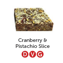 Dairy free, vegan and gluten free cranberry and pistachio slice