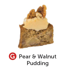 Gluten free pear and walnut pudding