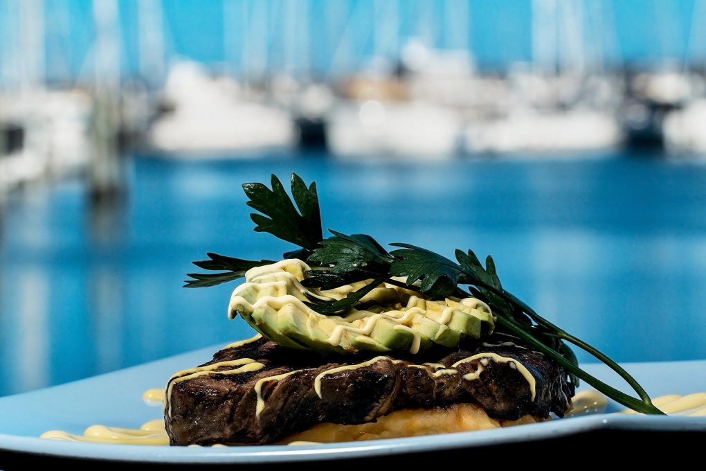 a suculent steak from the lunch and dinner menu at Cafe Balaena in Hevery Bay